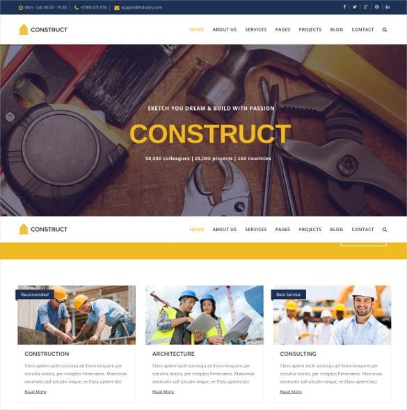 construct joomla construction business template