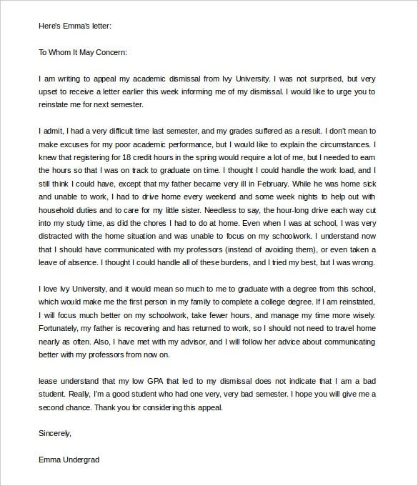 university appeal letter for dismissal word download