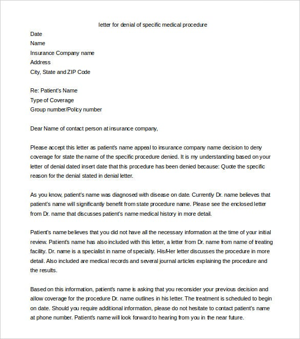 appeal letter to insurance company