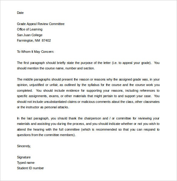 Charming Grade Appeal Letter Template For Student Word Format In Appeal Letter Template
