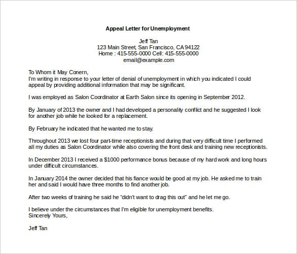 Exceptional Appeal Letter Template For Unemployment MS Word Download