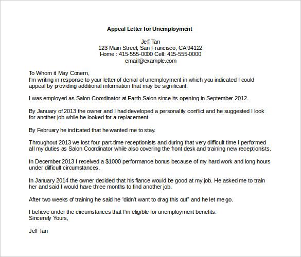 unemployment appeal letter lexingtone