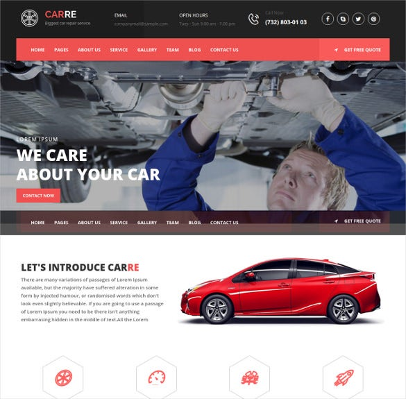 auto mechanic car repair html5 template
