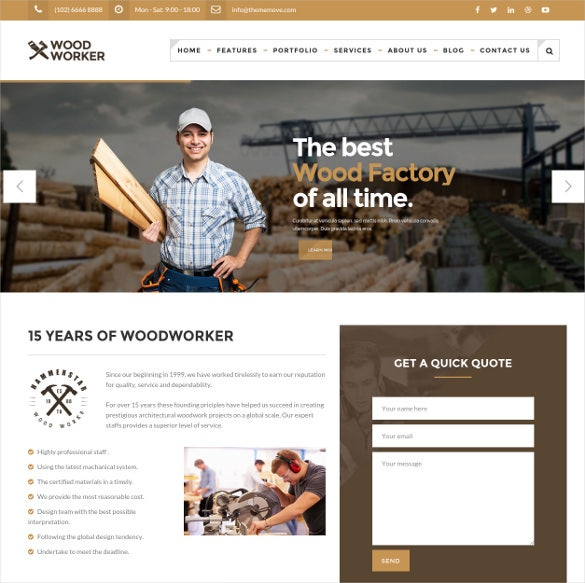 woodworker carpentry html5 theme