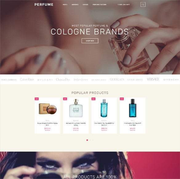 perfume shop ecommerce opencart template