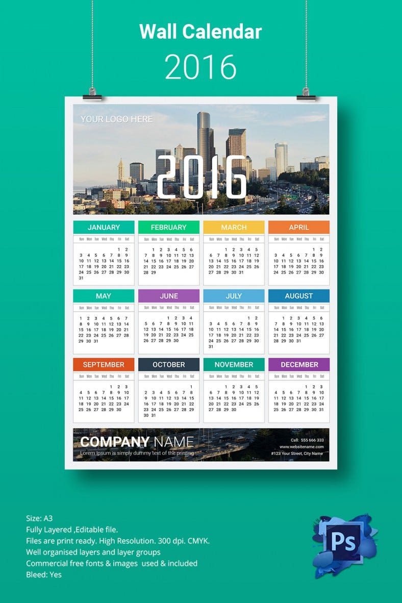 A3 Yearly Wall Calendar Template 2016