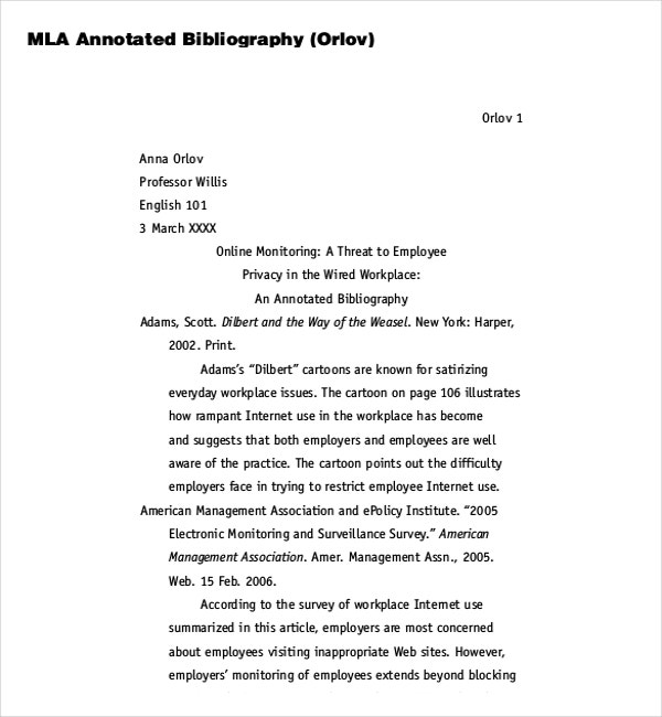 What does mla annotated bibliography look like
