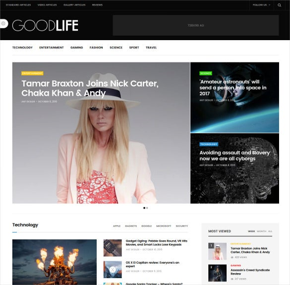 goodlife responsive magazine blog theme