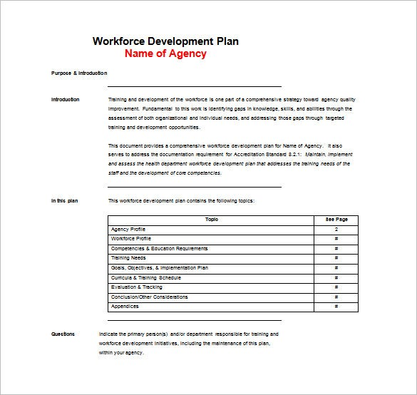 Training plan template 9 word pdf documents download for Workforce planning template download
