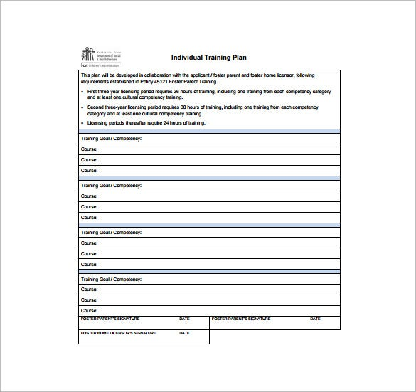 individual training plan free pdf template download