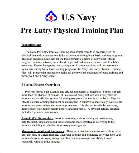 Workout training plan template