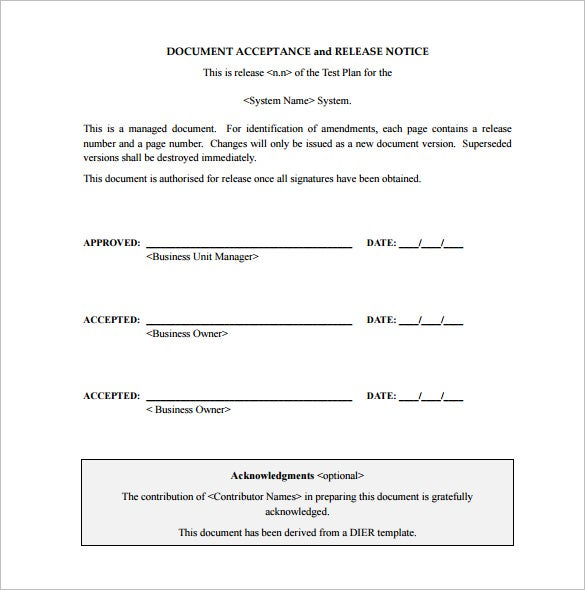 acceptance test plan free pdf template download