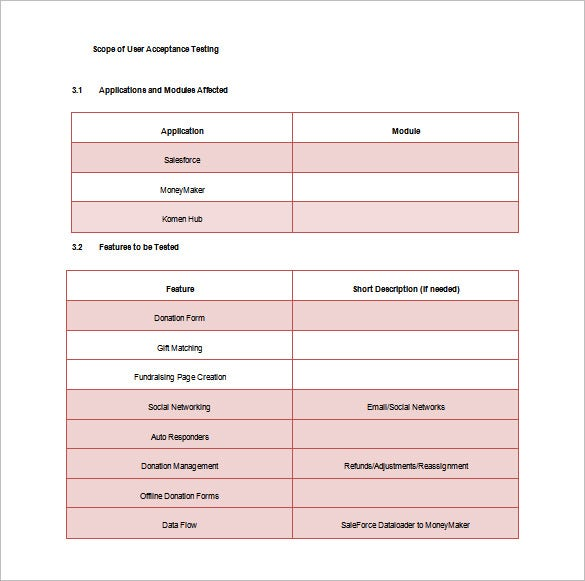 user accetptance test plan free word template download