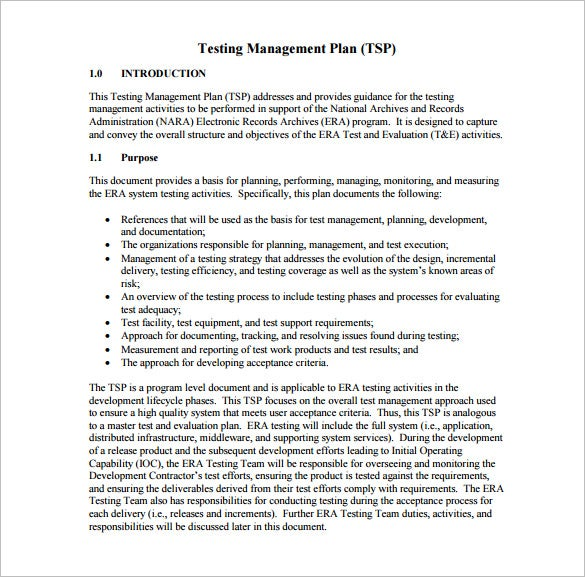 testing management plan pdf free download