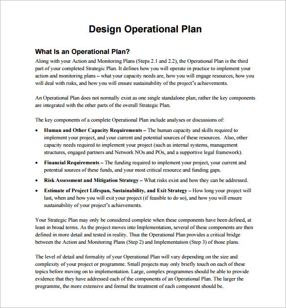 design operational plan free pdf template download