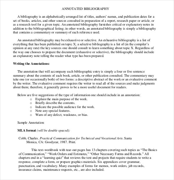 Simple Exhaustive Annotated Bibliography PDF Format Download