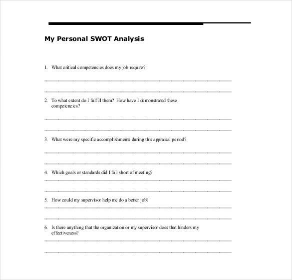 Personal SWOT Analysis Template 18 Examples in PDF Word – Example of a Swot Analysis Paper