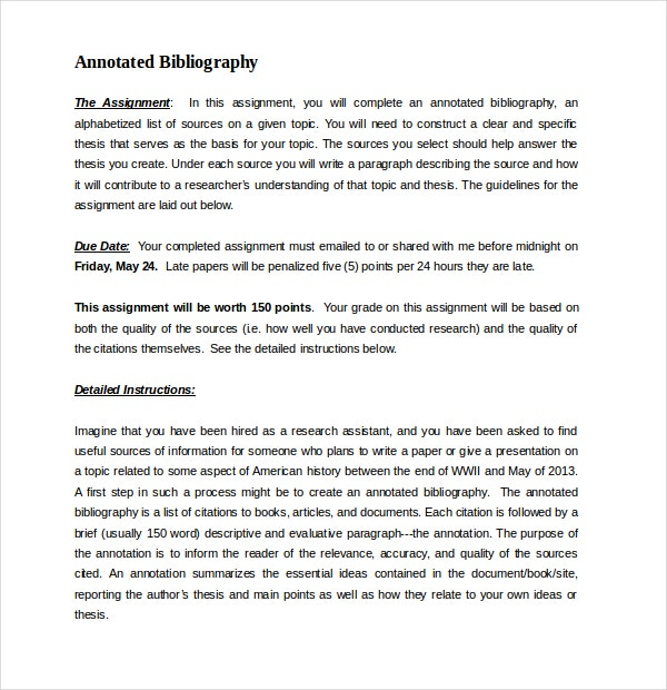 Free Annotated Bibliography Papers Word Format Free Download