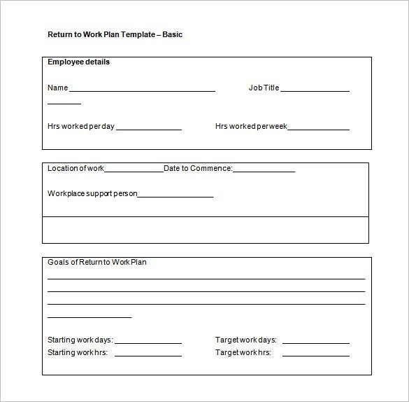 Return To Work Plan Sample Word Tempate Free Download