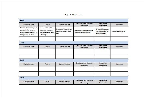 Sample Work Plan Project Work Plan Template Sample Work Plan