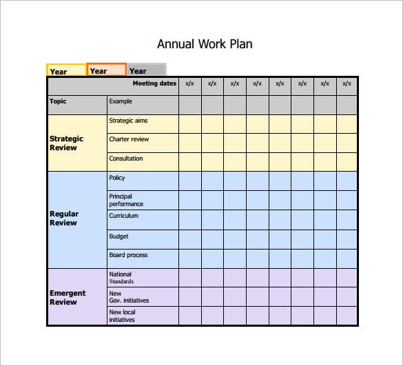 Annual Work Plan Example PDF Template Free Download