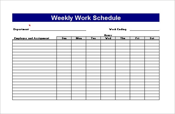 Weekly Work Plan Excel Template Free Download