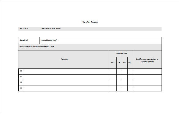 Work Plan Template - 4 Free Word, Pdf Documents Download | Free
