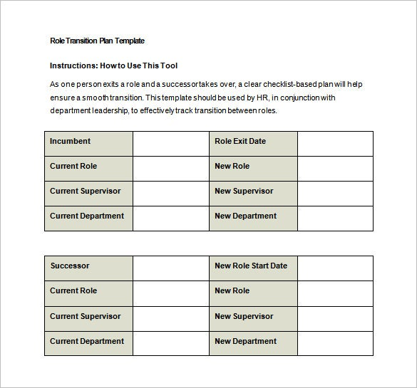 role transition plan free word template download