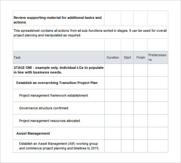transition project plan excel template free download