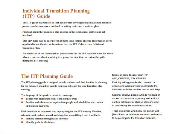 individual transition planning pdf template free download