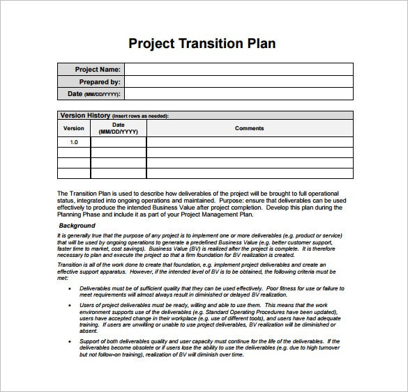 project transition plan pdf template free download