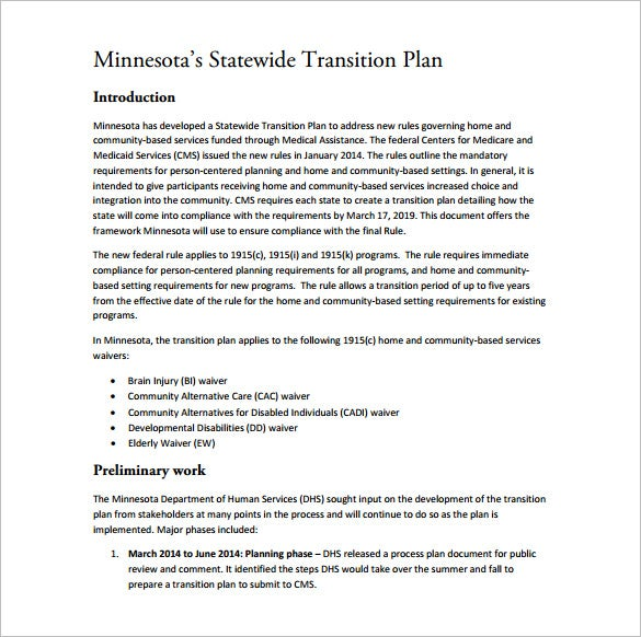 statewide transition plan pdf template free download
