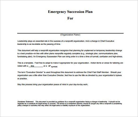 emergency succession plan pdf free download