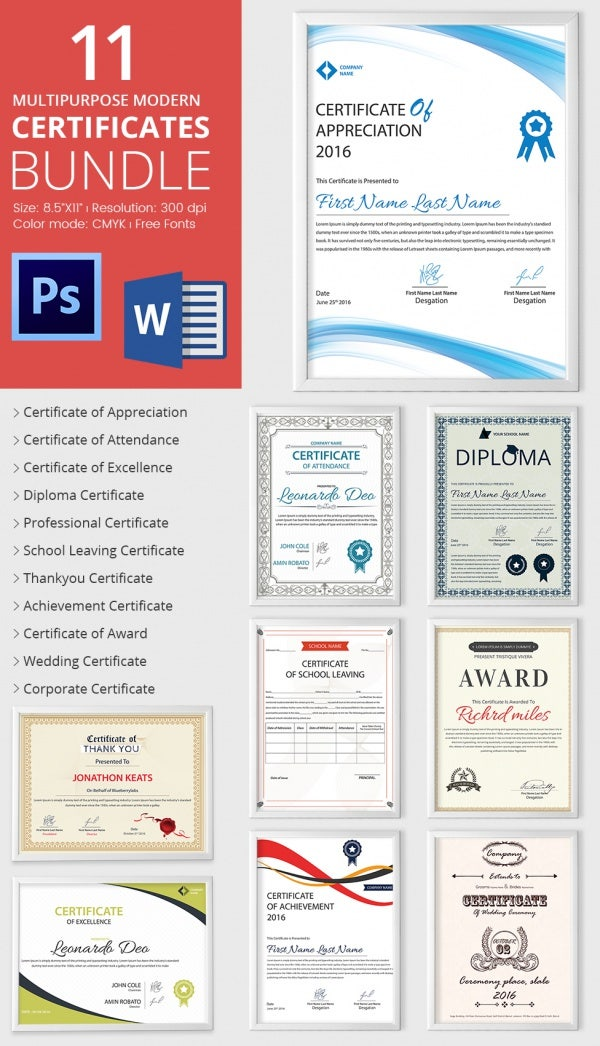 Achievement award template 12 word pdf documents download free 11 best selling certificate template bundle yadclub Images