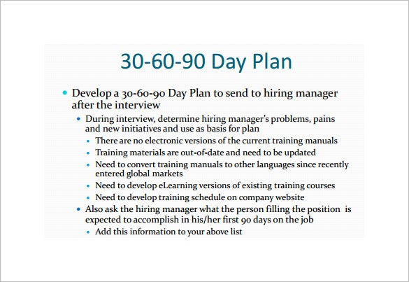 post interview strategy 30 60 90 day plan