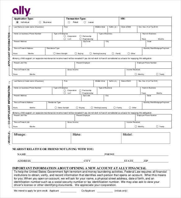 ally-credit-application-form