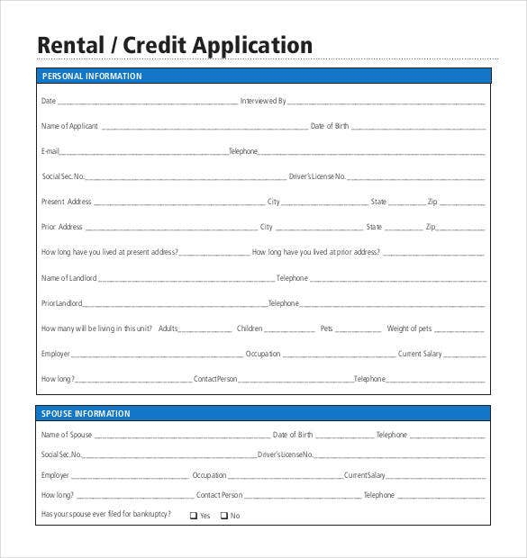 credit application template 32 examples in pdf word free