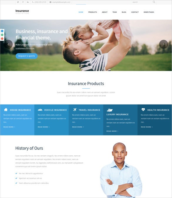 insurance agency single page wordpress website template