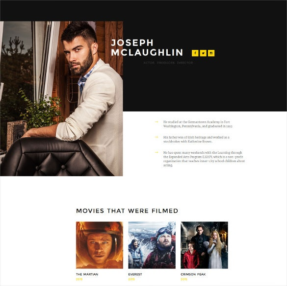 personal page responsive landing page template
