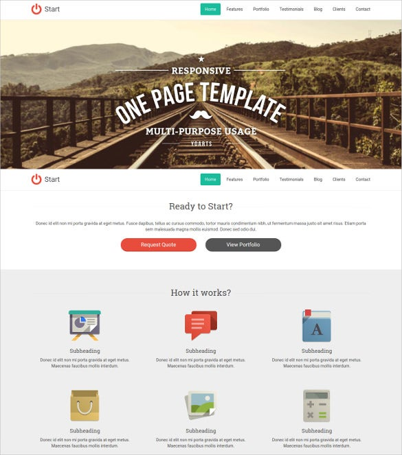 responsive single page template