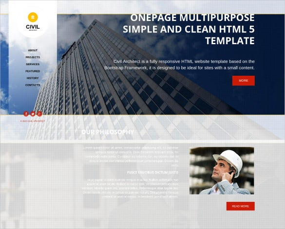 onepage civil construction company html website theme