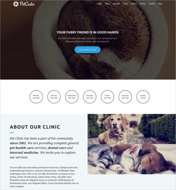 one page pet center wordpress website template