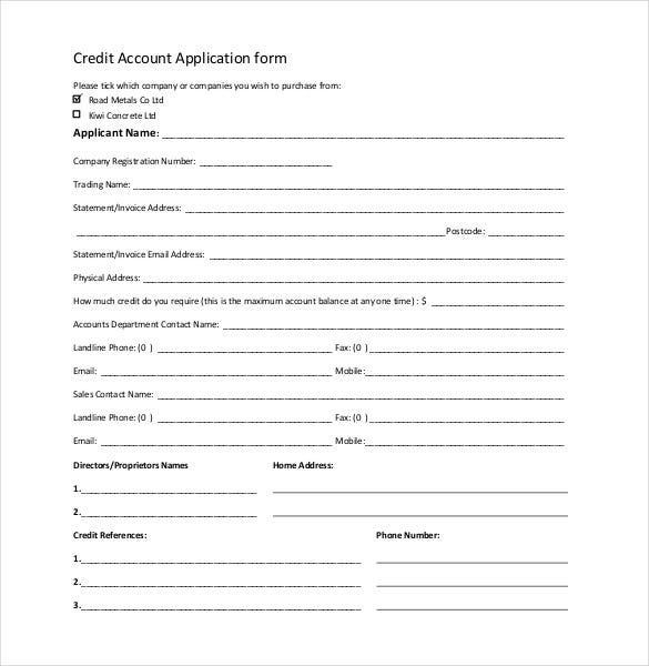 credit account application form
