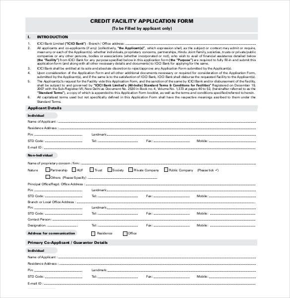credit-facility-application-form
