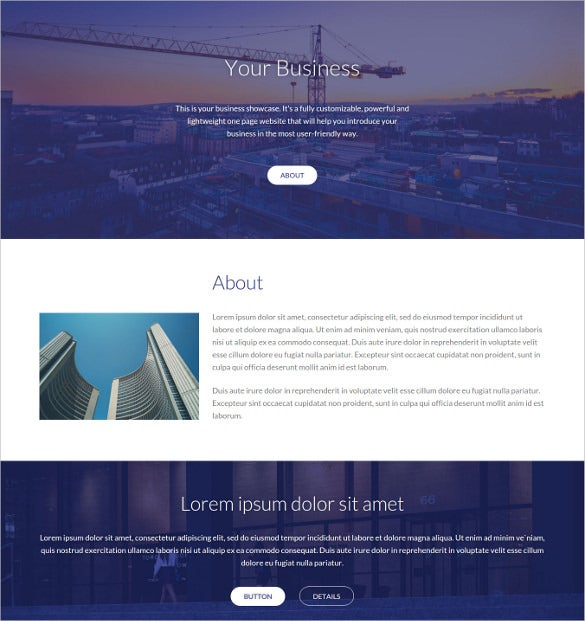 your business single page html website theme
