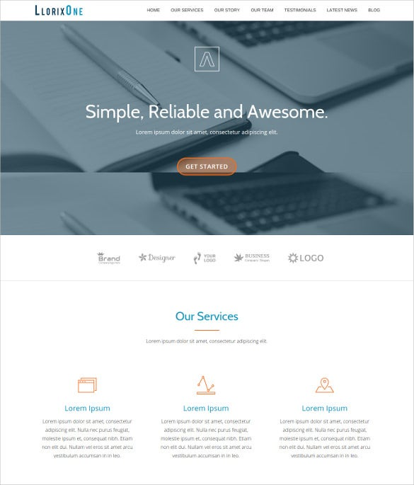 Free Premium Single Page Online Business Website Template