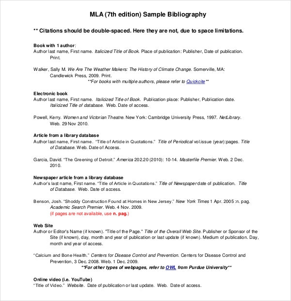 Free Sample MLA Bibliography 7th Edition Free Download