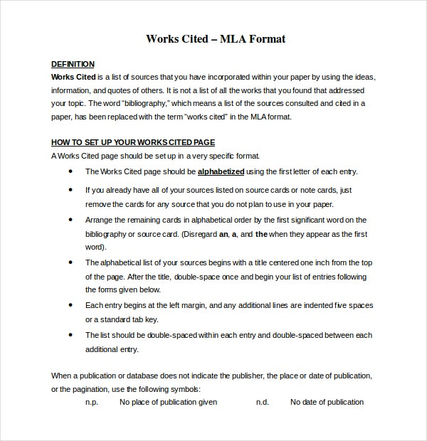 work cited mla format template - 8 mla annotated bibliography templates samples doc