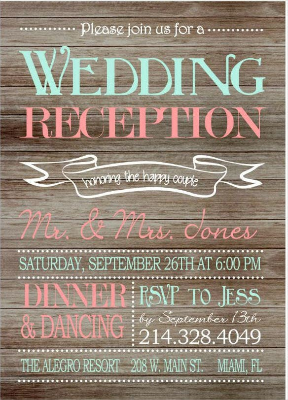 printable wedding reception wooden background