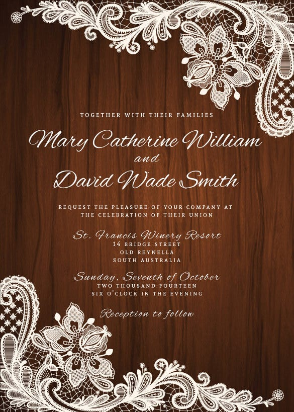 rustic wedding invitation white lace trim background - Wedding Invitation Background